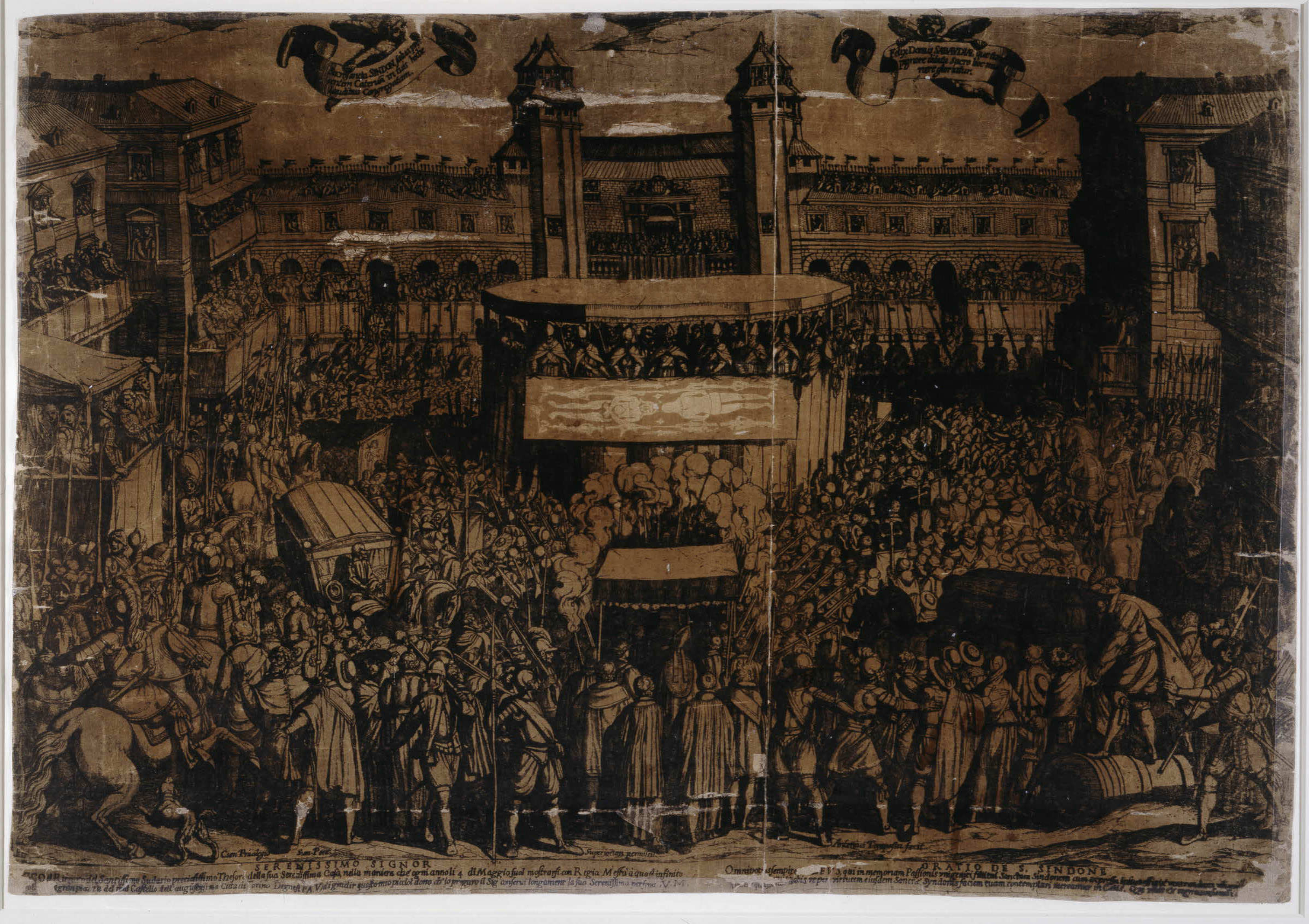 Fig. 2 Antonio Tempesta, The annual display of the Holy Shroud in Turin on 4 May. After 1593, etching and woodcut printed on silk. 426 x 620 mm. The British Museum, 1862,0712.502. Photograph © Trustees of the British Museum