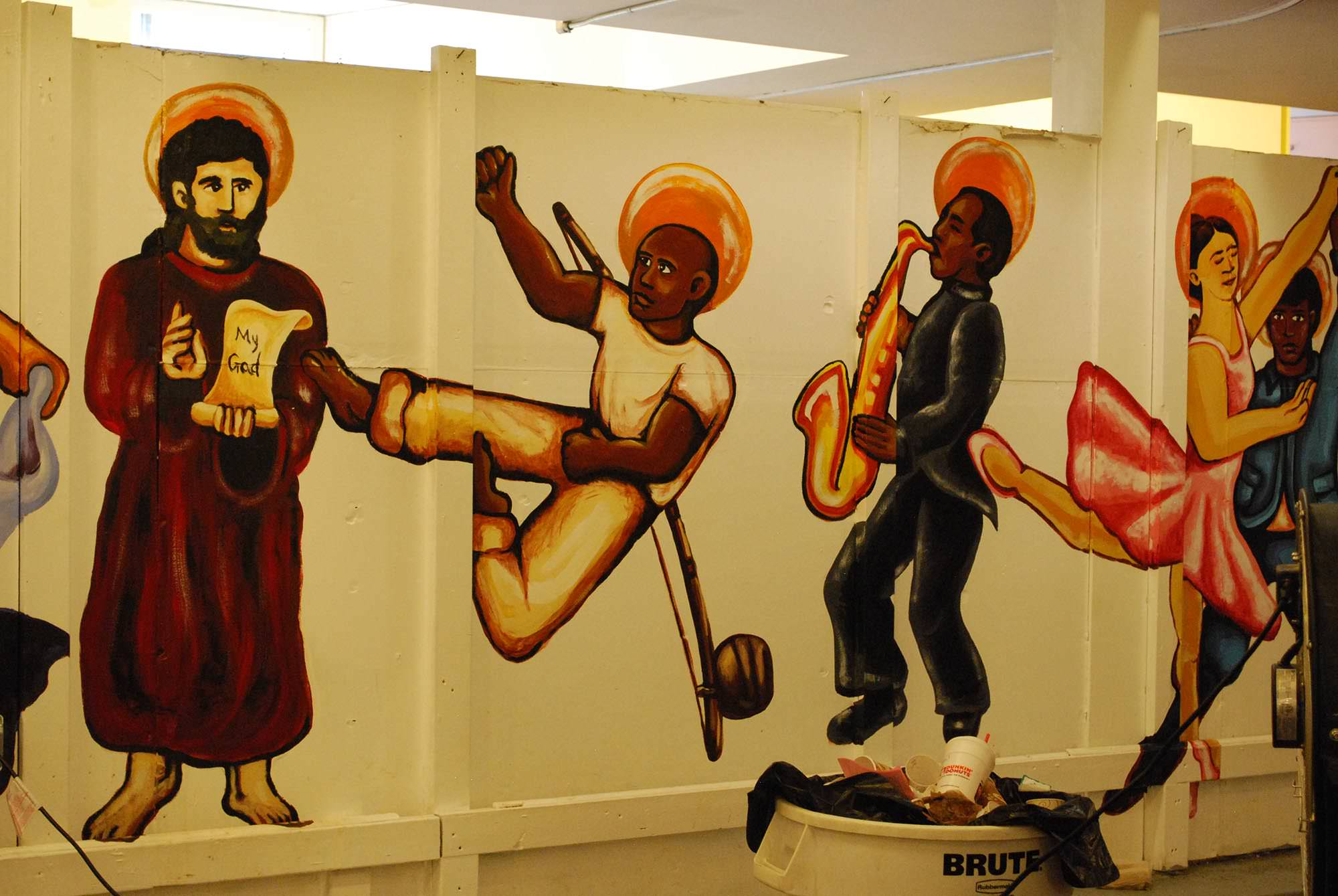 Detail of the Dance with the Saints mural, showing the capoeira dancer