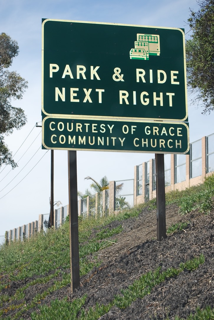 Fig. 8 Park and Ride Highway Signage, Grace Community Church (Lake Forest, California), as seen traveling north on Highway 5, March 2015. Photo: ©Sally Promey