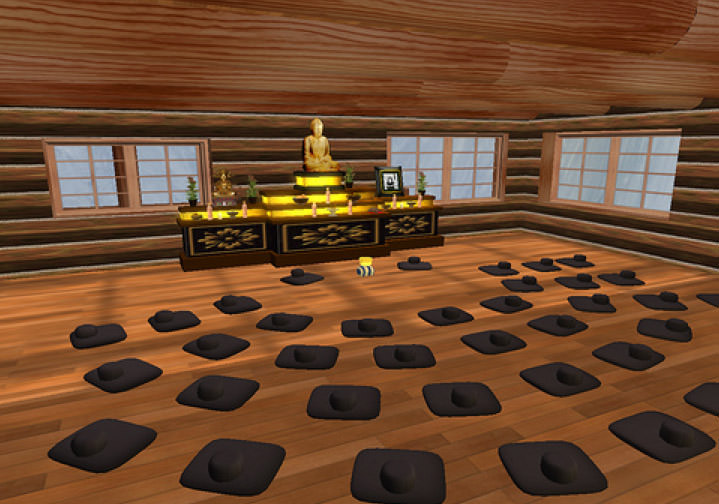 Fig. 1 Hoben Mountain Zen Retreat's Zendo [meditation hall] Second Life Snapshot by Gregory Grieve
