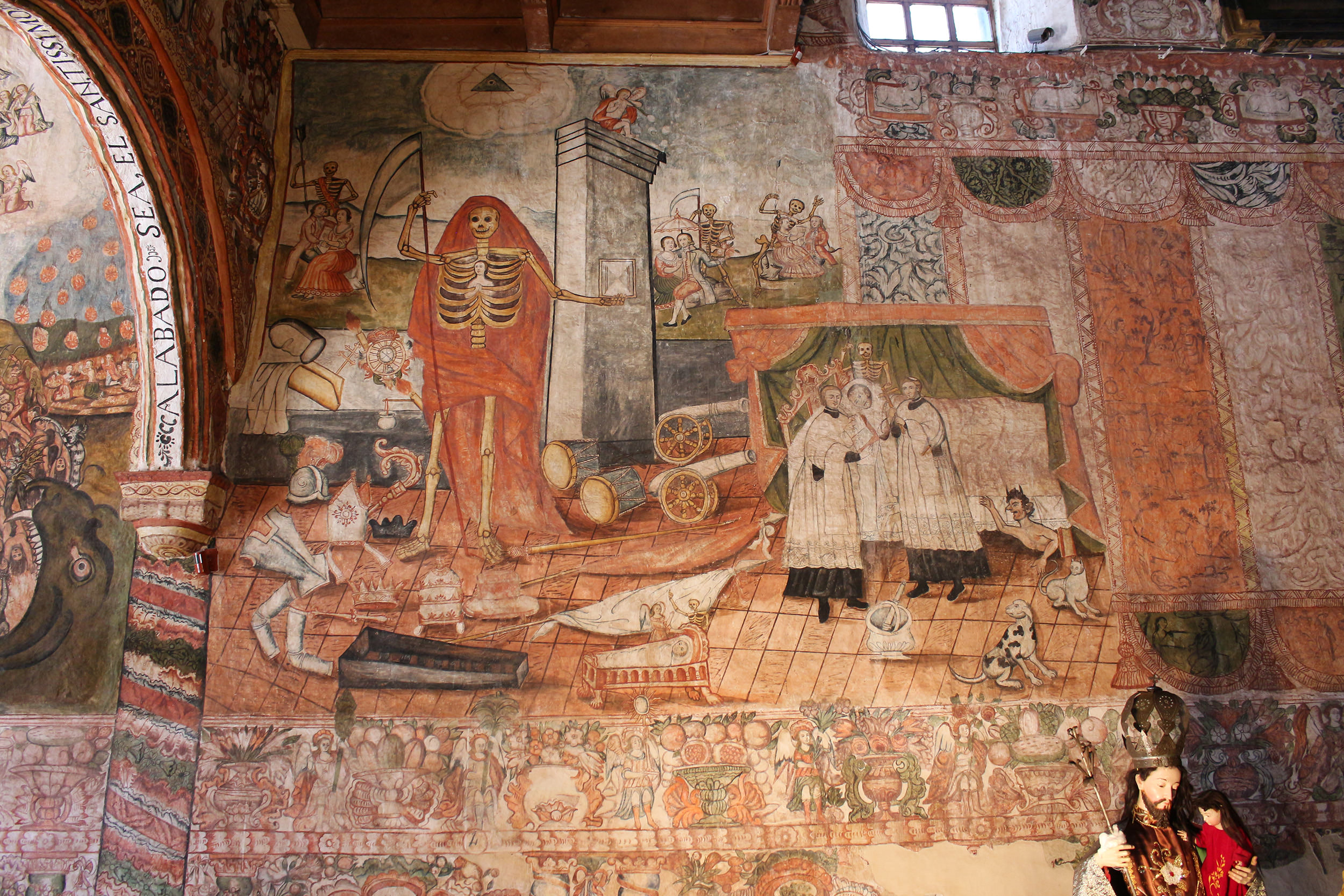 Fig. 26 Allegory of Death mural by Tadeo Escalante, Church of Huaro, 1802. Photo by author. Note the similar representation of a praying woman nestled within the skeleton's ribs as we see in the Celda Salamanca.
