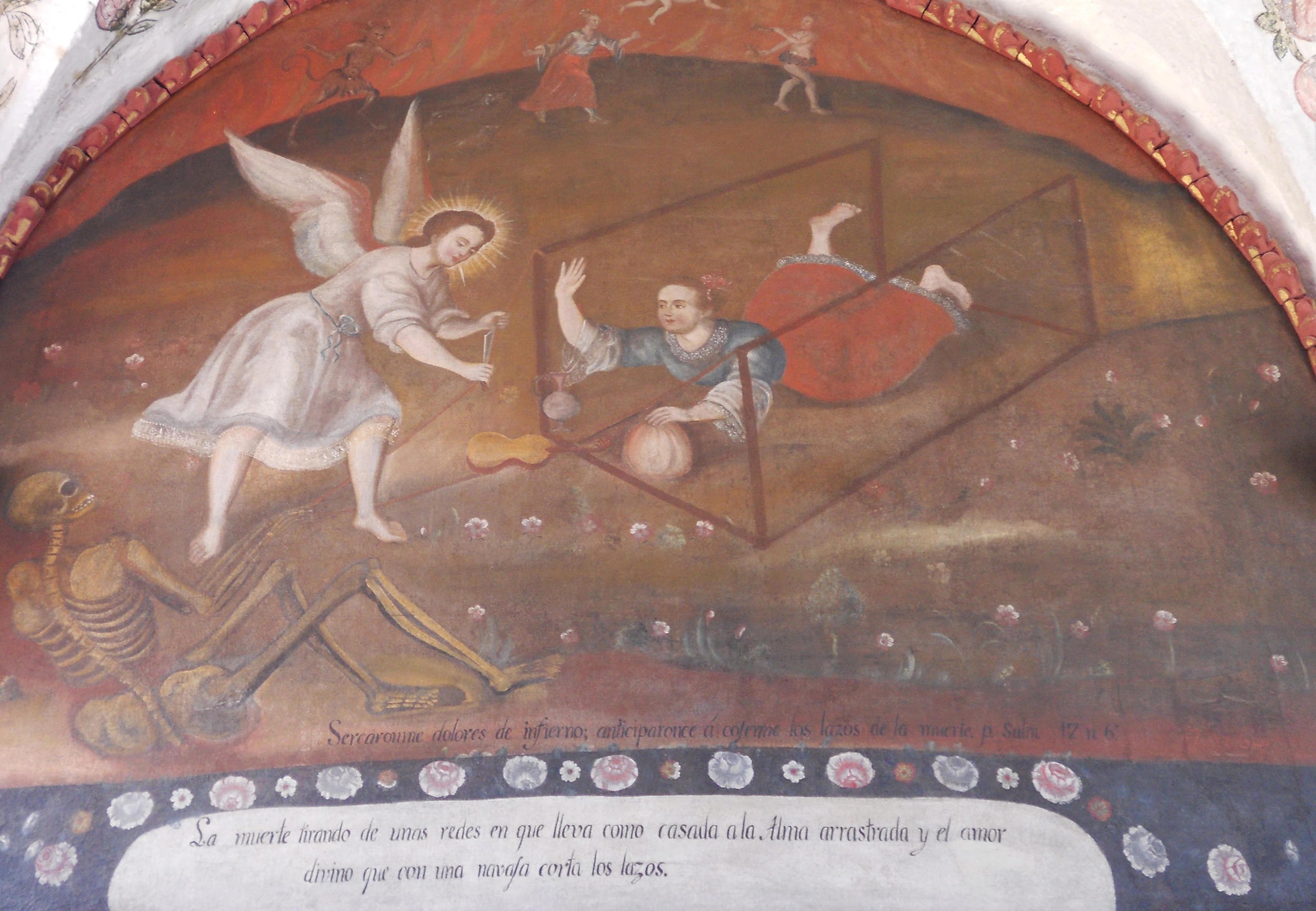 Fig. 28a La trampa del alma (The Trap of the Soul), 18th century, Convento de Santa Catalina (Arequipa). Photo by author. This scene is nearly identical to the mural at the Convento de la Merced, indicating that the artist also had access to the prints included in Suárez de Figueroa's text.