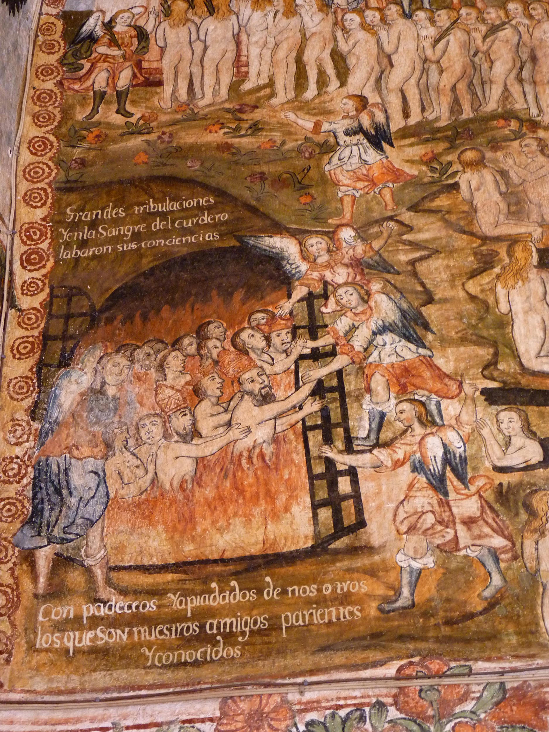Fig. 34 Detail from Last Judgment by Tadeo Escalante, 1802. Church of Huaro, Quispicanchi Province. Photo by author. In this representation we see men undergoing purification from the flames of Purgatory. As we see often in this type of iconography, some of them men are shown wearing Bishop's mitres and Papal crowns.