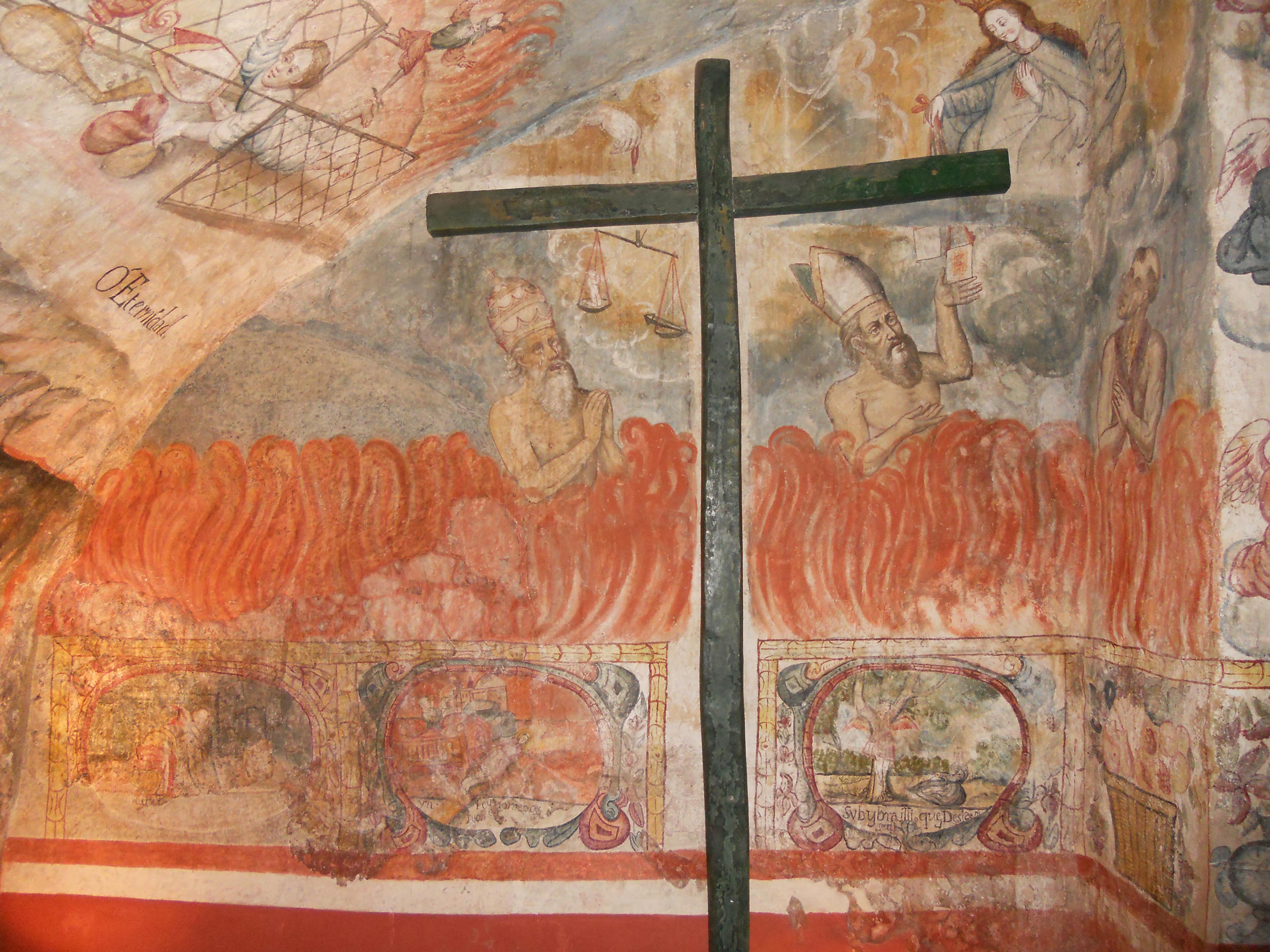 Fig. 35 Mural of the souls of Purgatory, 18th century. Celda Salamanca, Convento de la Merced (Cuzco). Photo by author.