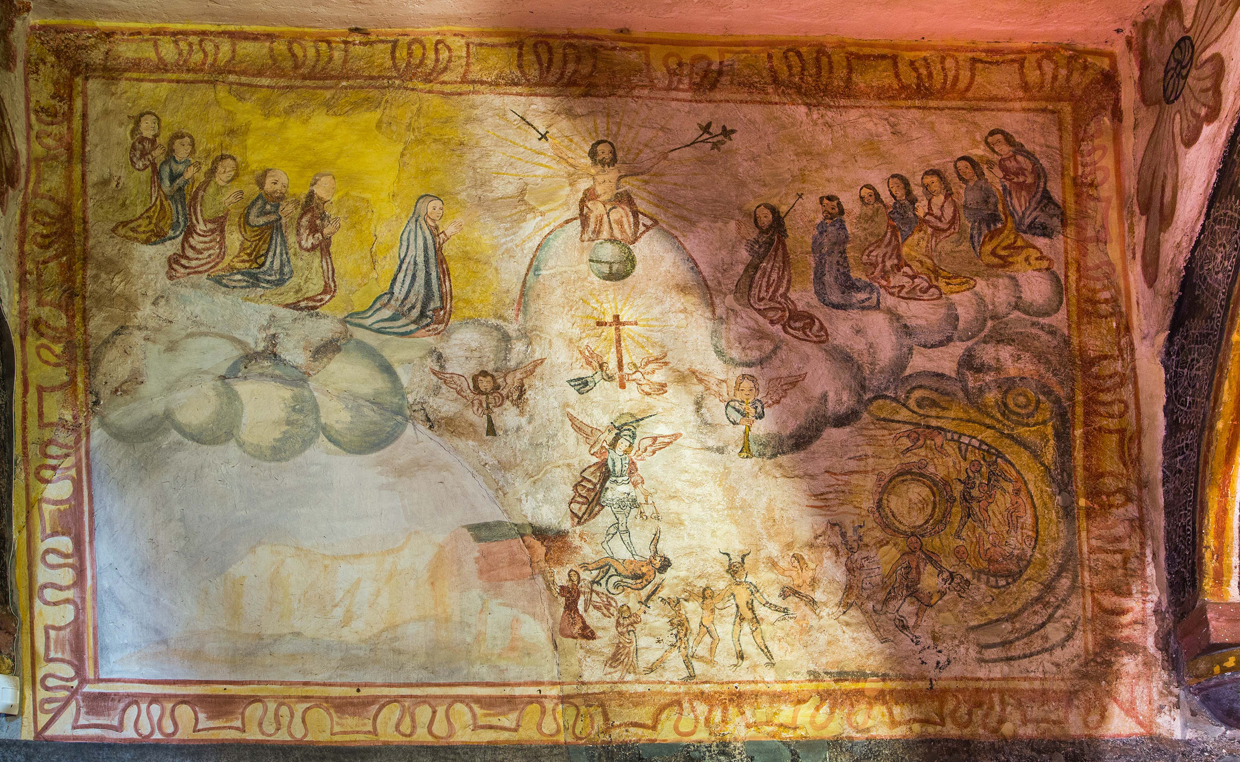 Fig. 38 Last Judgment, 18th century, Church of Zurite, Anta Province. Photo by Raúl Montero Quispe. Representations of the Last Judgment abounded in churches across the southern Andes, in both mural form and in canvas paintings. A number of similarities can be found in murals of the subject in churches across Peru, Bolivia, and Chile, indicating the use of shared European print sources. For instance, this painting bears striking similarity to an 18th-century mural of the Last Judgment at the Church of Parinacota (Chile).