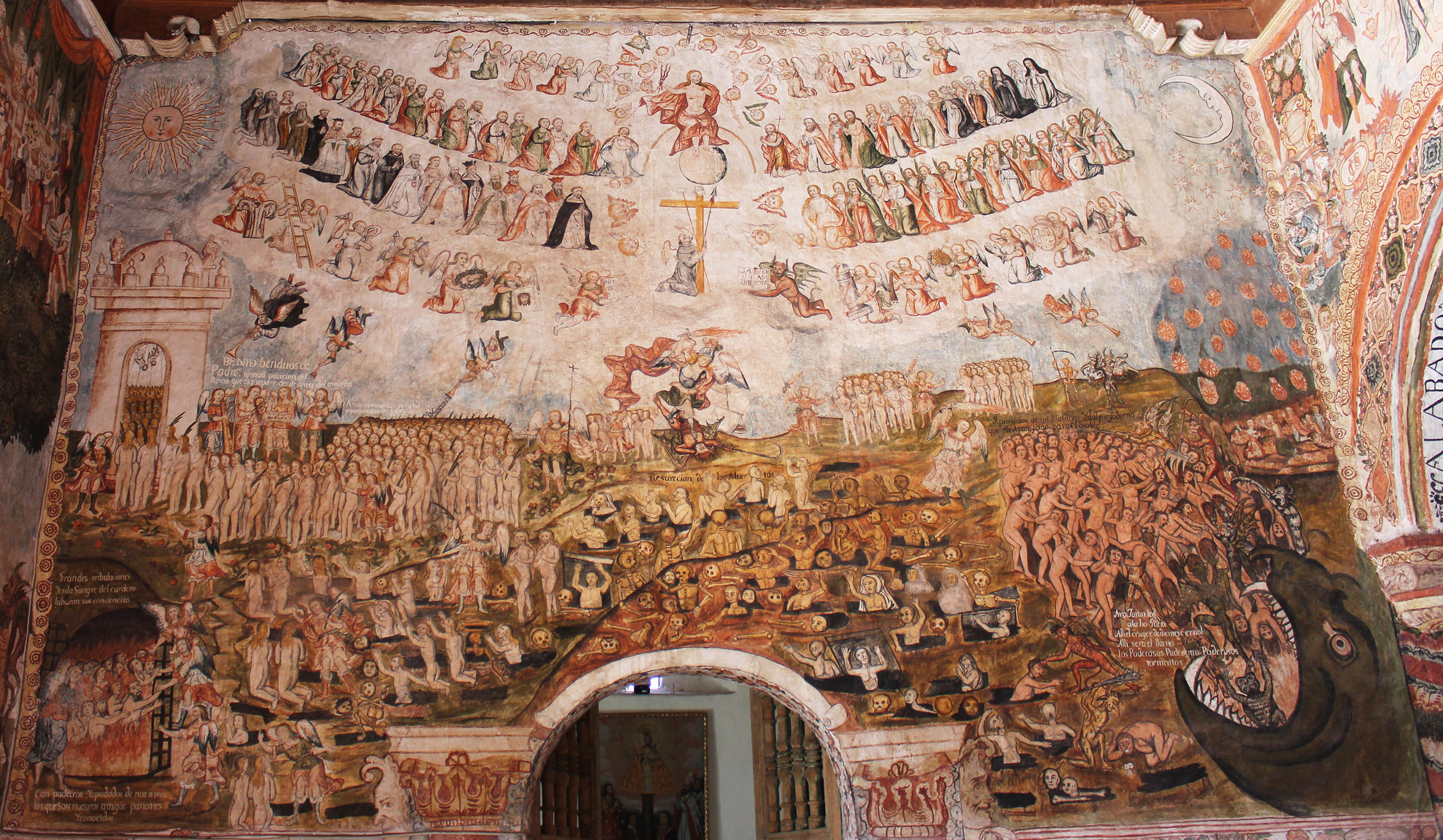 Fig. 39 Last Judgment by Tadeo Escalante, 1802. Church of Huaro, Quispicanchi Province. Photo by author. Note similarities with the mural at Zurite, particularly in the upper register of the composition.