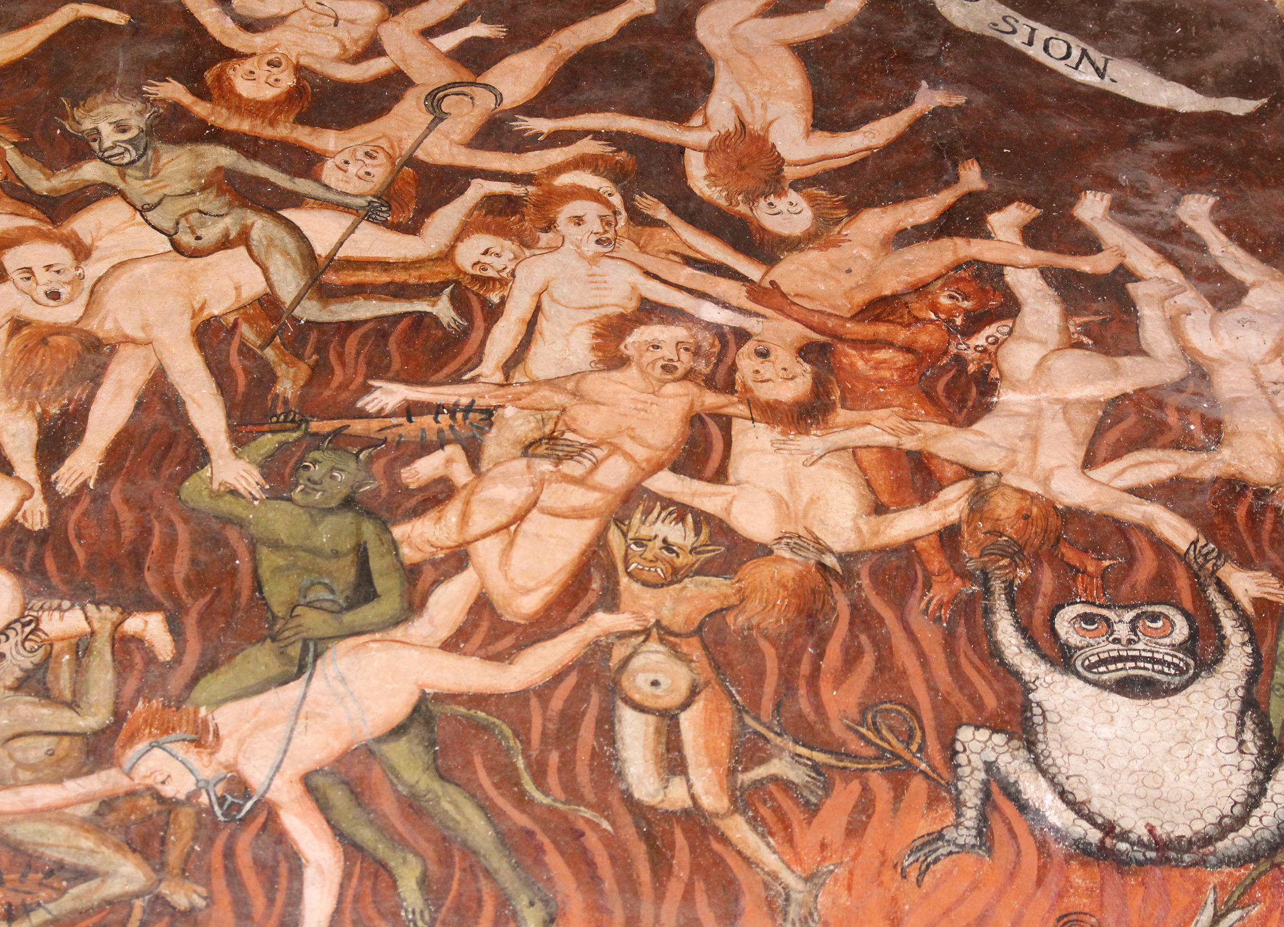 Fig. 41 Detail, Hell, 1802. Murals by Tadeo Escalante, Church of Huaro, Quispicanchi Province. Photo by author.