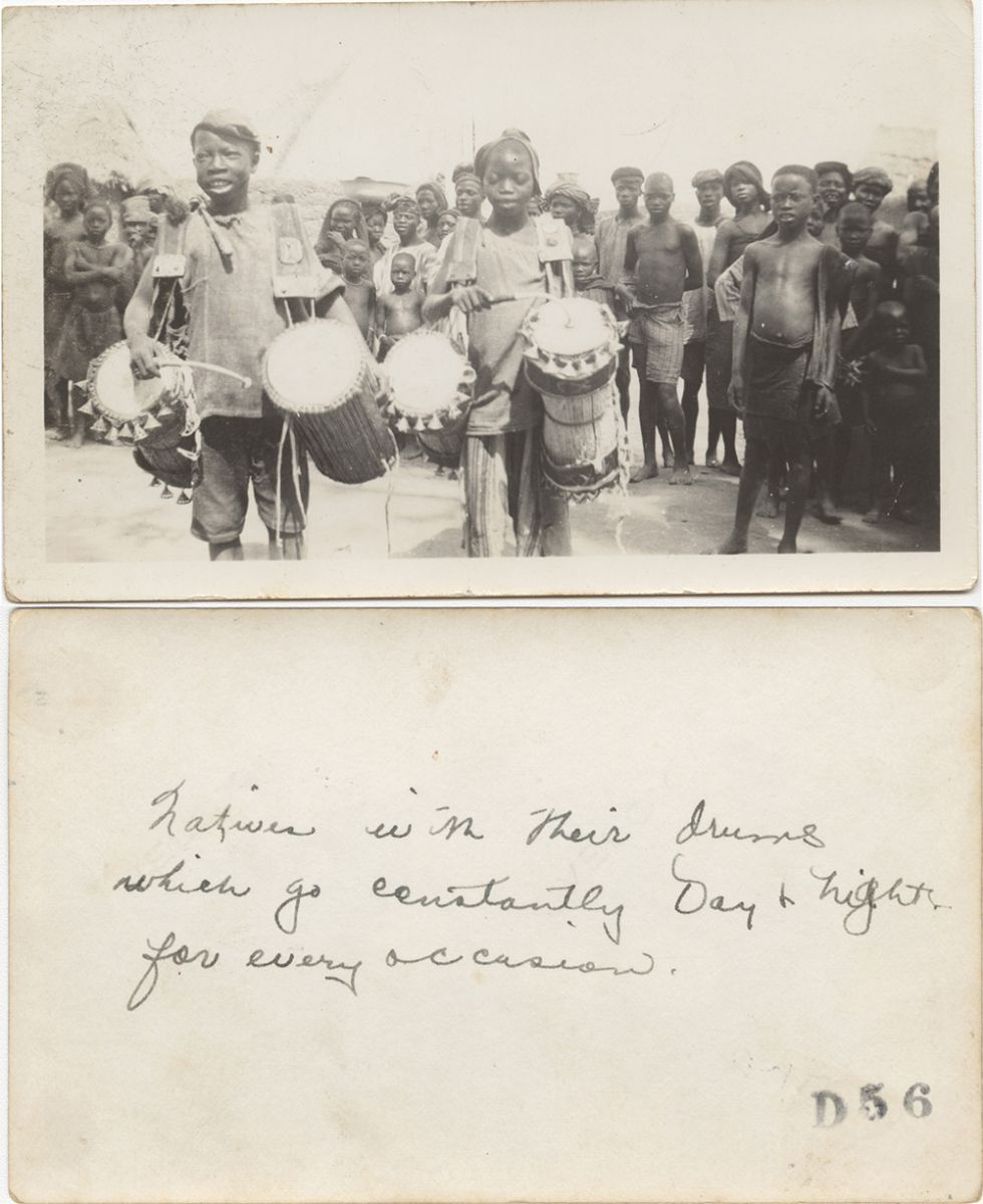 "Fig. 1 Ray Northrip, ""Natives with their drums that go constantly Day and Night for every occasion,"" Nigeria Mission photograph, recto and verso"