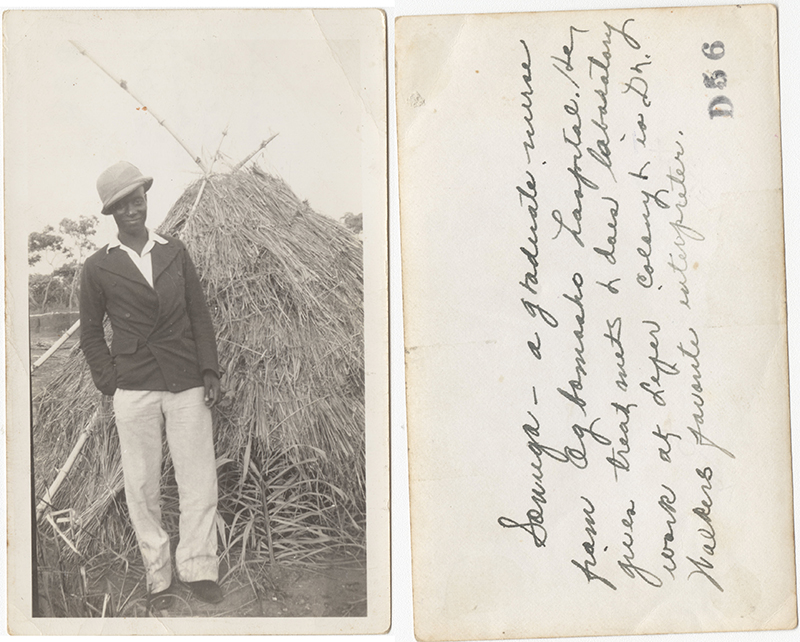 "Fig. 12 Roy Northrip, ""Sonuga—a graduate nurse from Ogbomosho hospital. He gives treatments & does laboratory work at Leper Colony & is Dr. Walkers favorite interpreter,"" Nigeria Mission photographs"