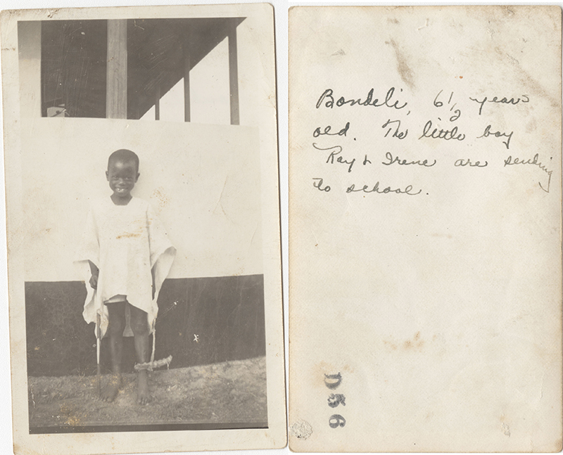 "Fig. 11 Ray Northrip, ""Bondeli, 6 ½ years old. The little boy Ray & Irene are sending to school,"" Nigeria Mission photograph, recto and verso"