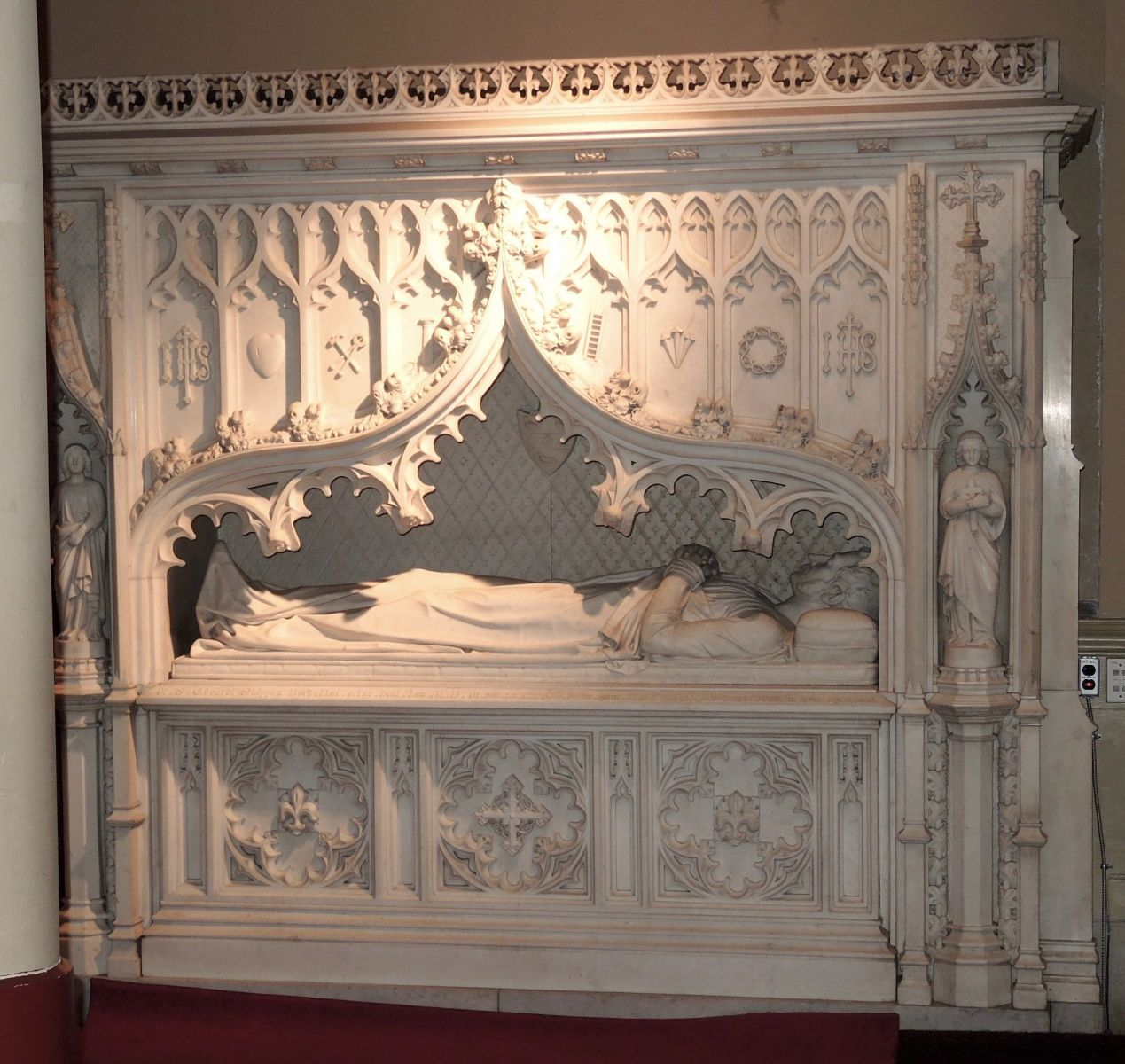 Fig 1. Frank Wills (architect) and Henry Kirke Brown (sculptor), canopy tomb of Edward Shippen Burd, 1849-1860, St. Stephen's Episcopal Church, Philadelphia
