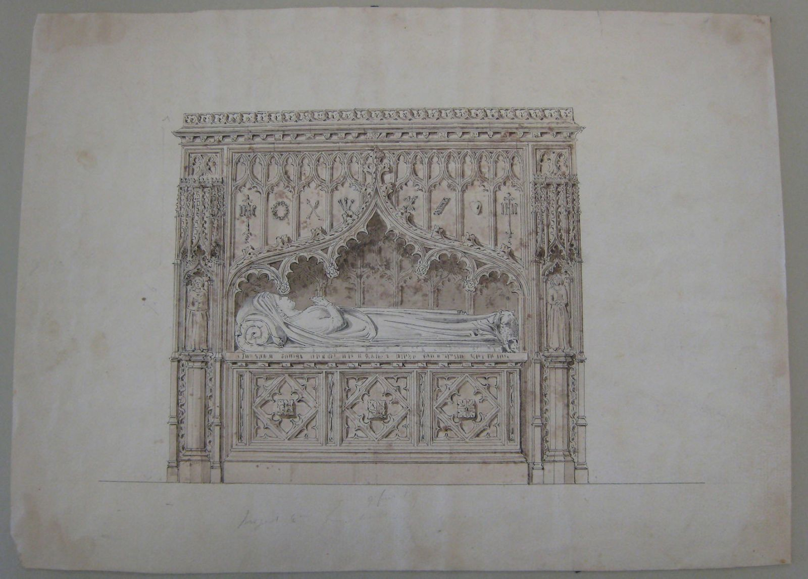 "Fig 8. Attributed to Frank Wills, ""Drawing of a Tomb 1850,"" Library and Archives Canada (LAC), Ottawa. Photo: Hagit Hadaya"