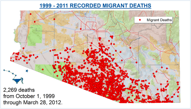 Fig. 3 Humane Borders 1999-2011 Recorded Migrant Deaths Map