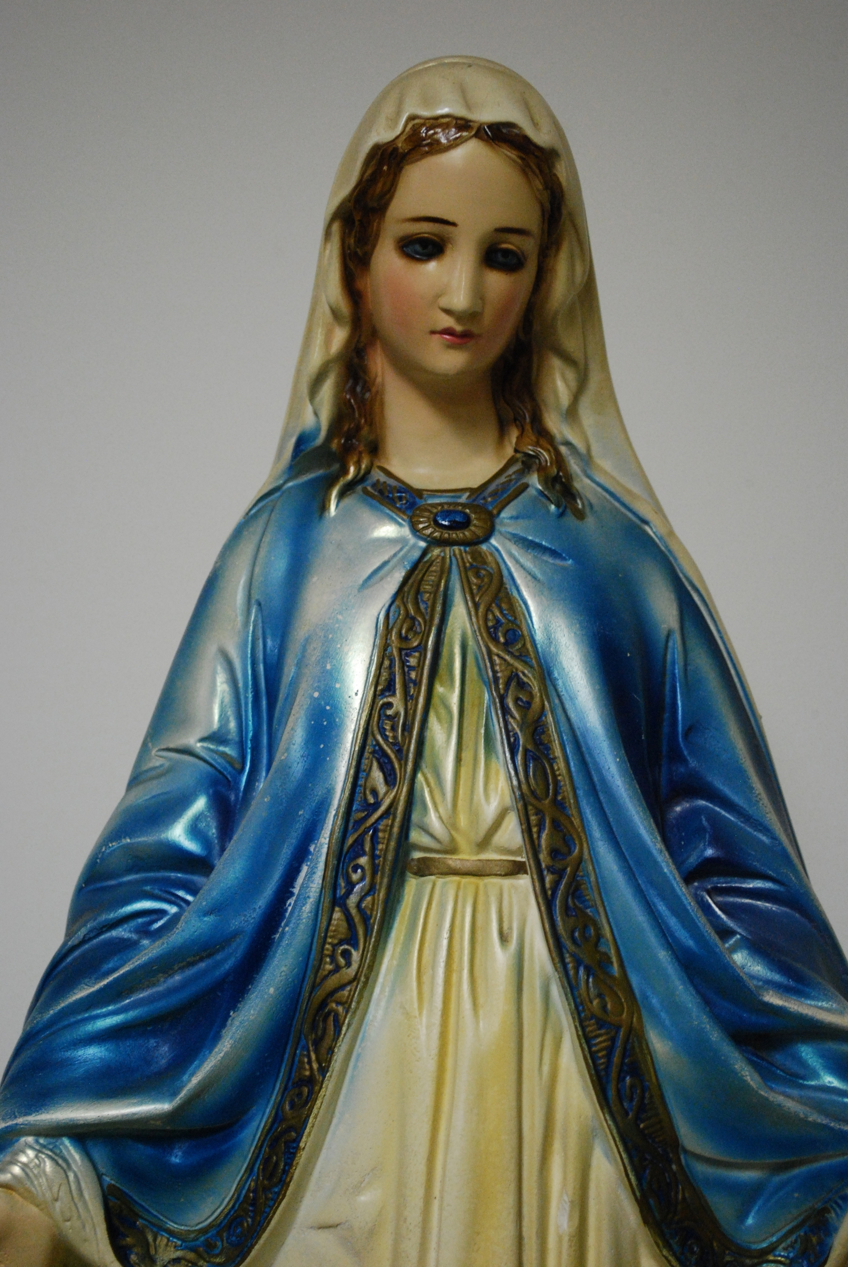 Chalkware sculpture of Our Lady of Grace, mid 20th century