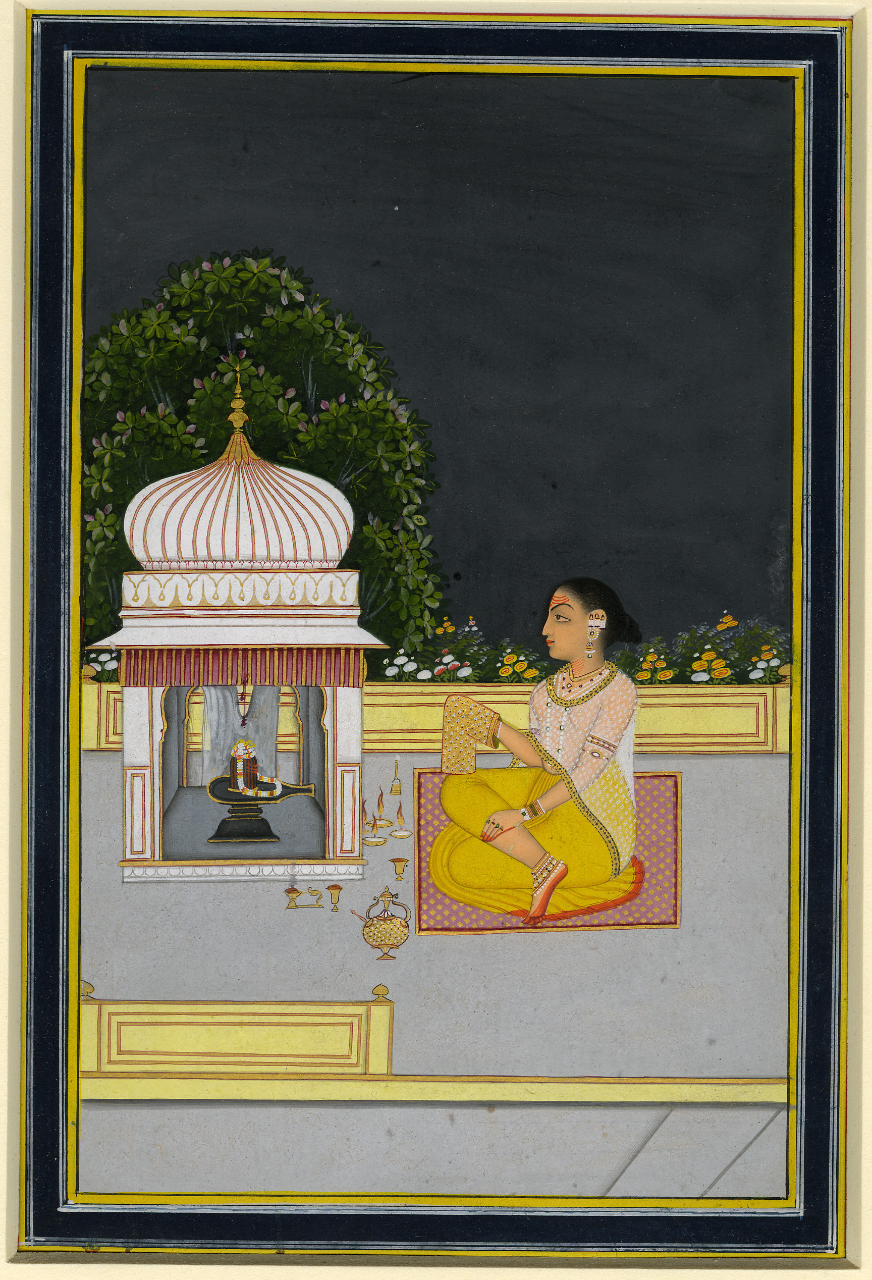 Fig. 1 Woman performing her devotion to the Hindu god Shiva, in the form of a Linga, 18th century, Photograph © Trustees of the British Museum