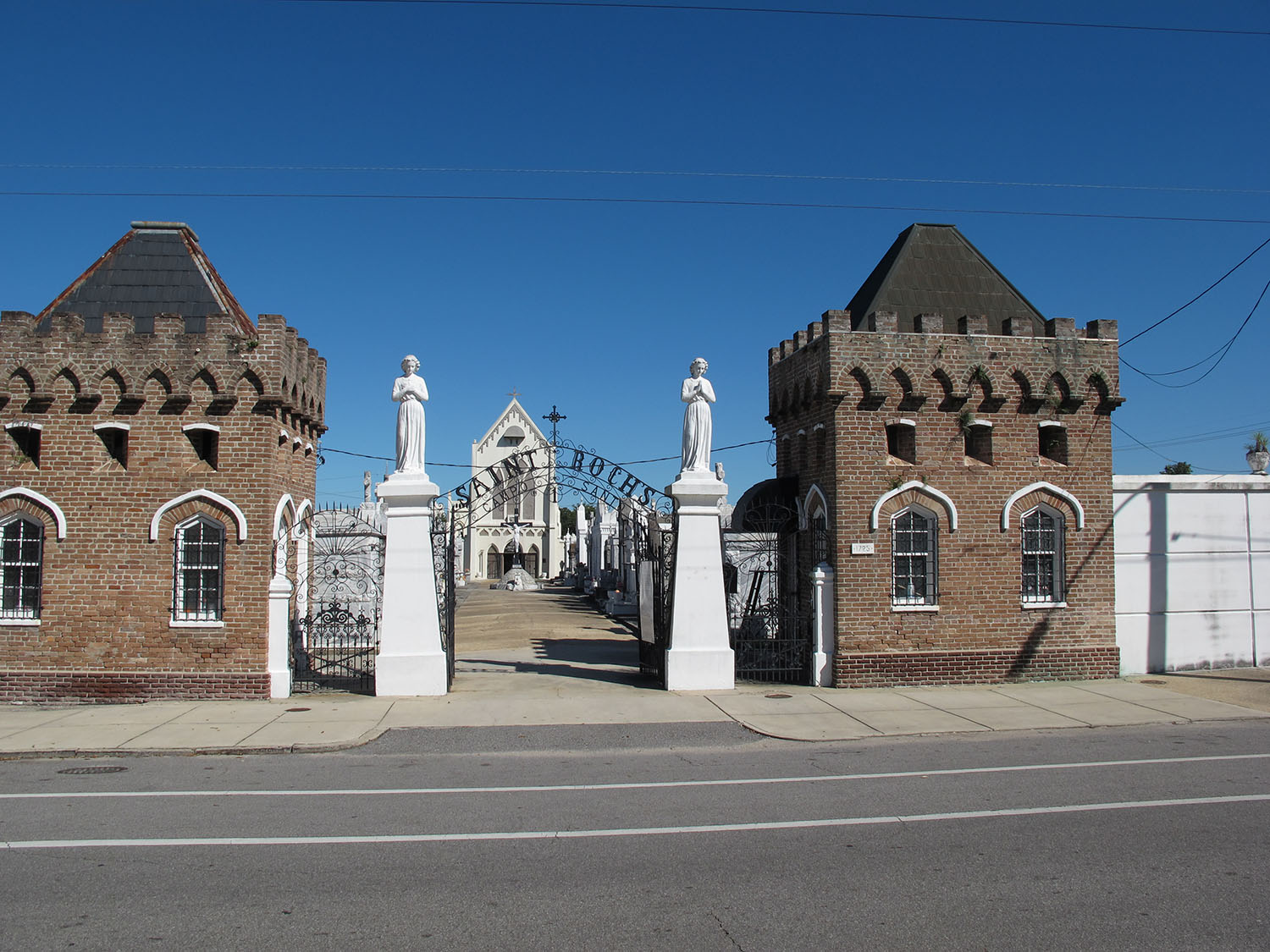 Entrance to St. Roch Cemetery Number 1, with the Shrine of St. Roch in the background