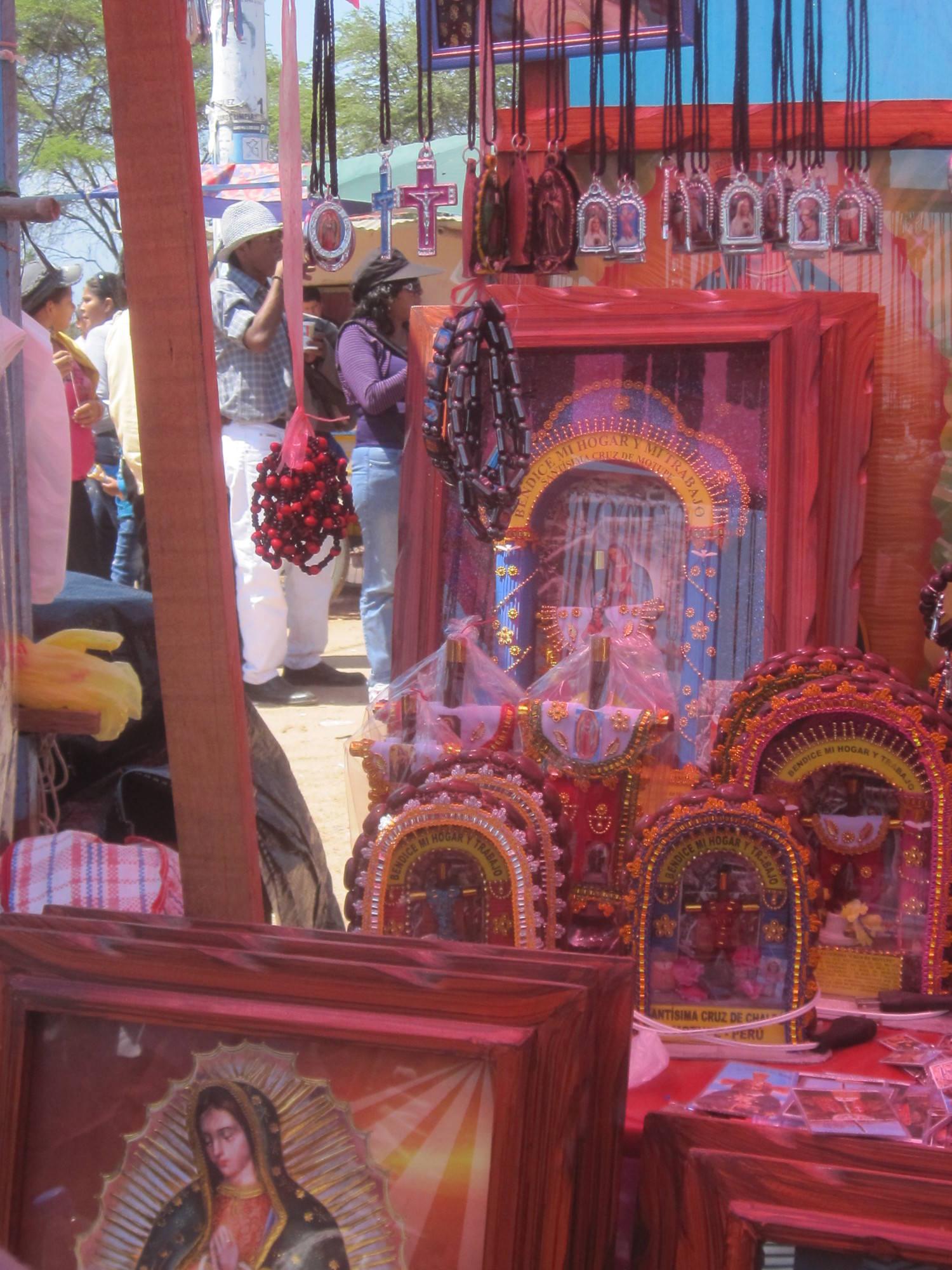 Pilgrim souvenirs sold at the festival