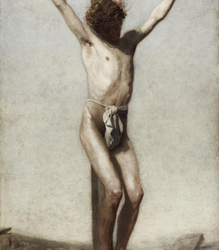 A painting shows a light-skinned Christ nearly naked save for a white wrap over his groin. His pale body is highlighed by his red crown of thorns and the blood flowing from his nailed hands and feet. The background is ambiguous and rocky.