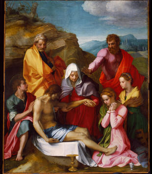 In a painting, light-skinned figures gather around a Christ's limp body. One man props him up as a woman in a white veil holds and examines the dead man's arm. A bearded man in pink and red dress stands and gestures dramatically at the group.