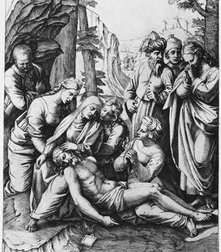 A black and white engraving depicts a dead Christ lying among a group of mourners. His head rests on the lap of a seated, haloed woman and his legs are thrown over the lap of another woman. Three crosses are visible on a hill in the background.