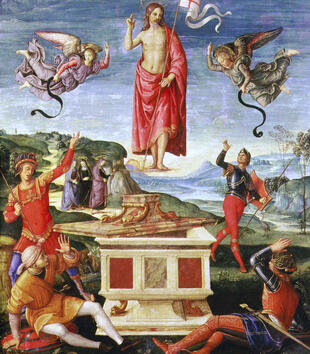An oil painting shows a red-robed Christ floating in the air above a marble tomb with its lid ajar. Angels fly around the young white man who bears a white flag. Armored figures around the tomb gesture in surprise. In the background, the sun rises.