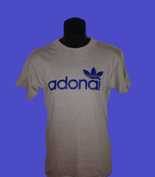 "A white t-shirt with blue lettering that reads ""Adonai"" is displayed on a black clothing form. The text uses the same geometric sans font used by Adidas, and the trefoil corporate logo is included in blue above the ""ai."""