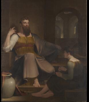 An oil painting depicts a light-skinned, robed figure sitting on a set of steps with a stern expression. Another figure sits on the steps in front of him writing on a scroll. An architectural space with domes and arched doorways lies in the background.
