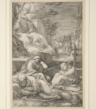 An engraving depicts Christ sprawled on a rocky outcropping as an angel addresses him in the sky. Three apostles sleep in the foreground and soldiers approach through a gate in the back.