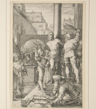 Christ is tied to a column in an engraving of the Flagellation. Figures tie together switches to beat him, although Christ wears a more melancholic than pained expression.