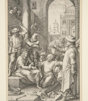 An engraving depicts Christ being taunted by a group of figures that crown him with thorns. He sits in an architectural space through a large brick arch where figures are seated in the gallery watching.