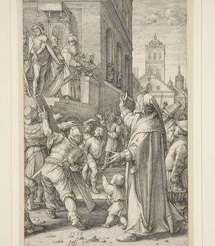 In the upper left of an engraving, Christ is presented on a balcony to a crowd. He wears a crown of thorns, and the crowd on the ground jeers at him. They carry in a wooden cross.