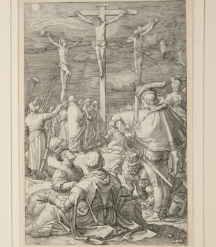 An engraving depicts Christ on the cross between two other crucified men. Weeping figures gather at the foot of the cross while soldiers gamble in the foreground. Storm clouds gather in the sky.