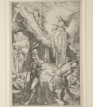 In an engraving, an angel sits on the stone door of a cave, which has swung open with a burst of light and clouds. Christ flies out and into the sky, holding a staff. Women approach from the left while shocked soldiers disperse on the right.