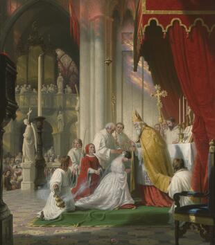 An oil painting depicts a young woman in a wedding dress kneeling at the altar in front of a bishop. They stand beneath a red canopy as a crowd of clergy gather around them holding incense and a chaplet. A woman in red robes kneels behind the young girl.