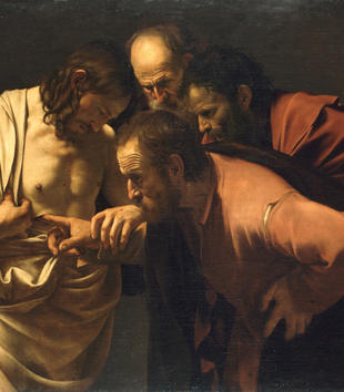 In this dramatically lit oil painting, three older robed men gather around a young, beared man. He pulls open his white robe to reveal his chest and guides the hand of one man into a wound there. The whole group stares down at the searching finger.