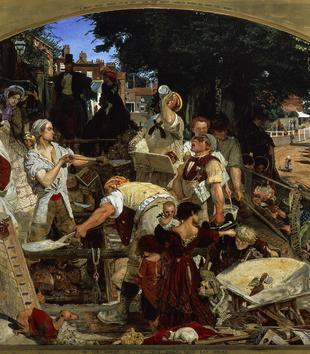 A busy painting captures a profusion of 19th century figures in one crowded section of the sunny street. Men dig trenches or toss back drinks. Women grasp babies, hand out pamphets, hold baskets of flowers, and stroll by with parasols.