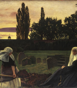One nun stares out at the viewer from a painting of two nuns working in a tree-lined cemetery at sunset. The other nun labors with a pick and shovel digging a grave.