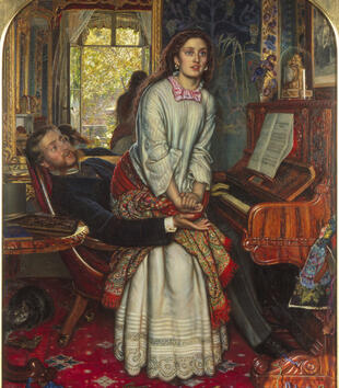 A painting depicts a suited light-skinned man pulling a light-skinned woman in a white dress onto his lap. They sit in front of a piano within a lushly carpeted and wallpapered interior. A cat frolicks on the ground in the corner of the work.