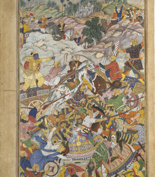 A painting depicts a swirling mass of richly colored figures in the throes of battle. They hold decorated shields, sit on horses with colorful saddles, and ride patterned carts. The figures lunge with spears, shoot arrows, and wield swords.