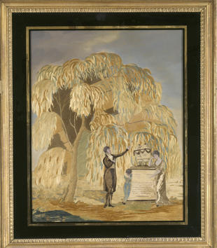 A painting depicts a small child, a woman, and a suited man gathered around two urns on a plinth. They are framed by the drooping leaves of the golden tree that they stand under. The man gestures in oration and the woman leans on the plinth.