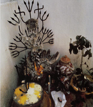 An altar is assembled against a white wall. Feathers and bird carcasses decorate baskets, ceramic pots, and ornamental iron works. Lit candles are nestled among the different objects.