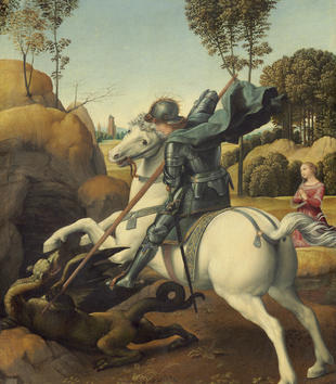 A painting depicts an armored, light-skinned figure on a bucking white horse as he confronts a reptilian dragon with a spear. In the background, a light-skinned woman in a pink dress kneels and prays.