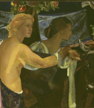 Two half-naked female figures gather around a brown ox in a dark, painterly image. Thick brushstrokes also render fruit-bearing trees in the background.