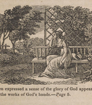 A wood-engraving depicts a woman sitting on a bench staring off into a grassy landscape with a house and trees.