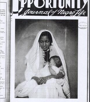 "A black and white photo of a veiled black mother and child is printed on a magazine cover. The magazine is entitled ""Opportunity"" in blocky font with the subtitle ""Journal of Negro Life"" in script. The date, ""December, 1941"" is printed at the bottom."