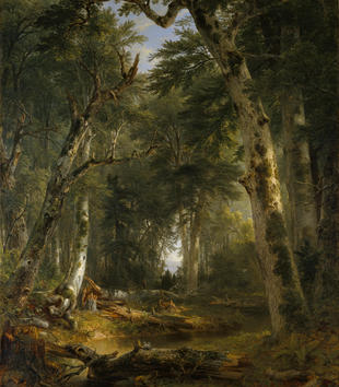 A painting provides a view into a forest clearing with a green canopy of trees over a muddy, watery expanse.