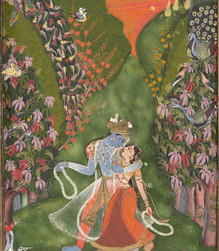 In this painting, the blue-colored Krishna grasps the light-skinned Radha close as they gaze into each other's eyes during a sunset walk. A multitude of birds and flowers fills out the verdent garden image, and a red and gold border frames the scene.