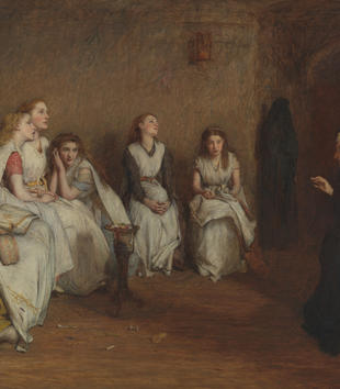 A nun addresses a group of young, white-frocked women sitting in a dimly-lit room. The girls lean on one another and appear bored at the nun's story while another nun stands with her back to the group. She exits a portal on the right of the painting.