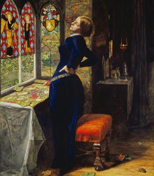 A painting depicts a light-skinned woman in a blue dress as she leans back with two hands on her lower back. She stands in a lush interior with curtains, drapery, and stained glass windows. She stares wistfully out one of the windows.