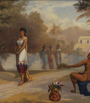 This painting depicts an idealized vision of Aztec life set in a manicured garden setting. The placid scene consists of a tan-skinned woman in a white tunic with a yellow cape strolling past a nude man on a bench. He reclines back and offers her flowers.